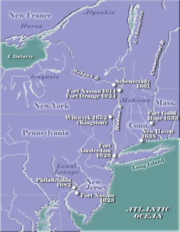 A map of the major Dutch settlements that shows there was also a movement into Connecticut and close to Massachusetts.