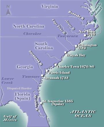 Southern Colonies Map