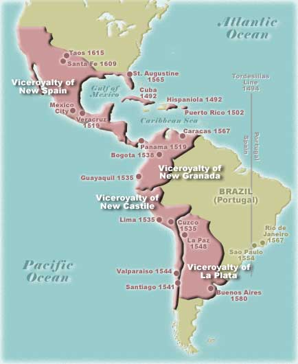 map of spanish america