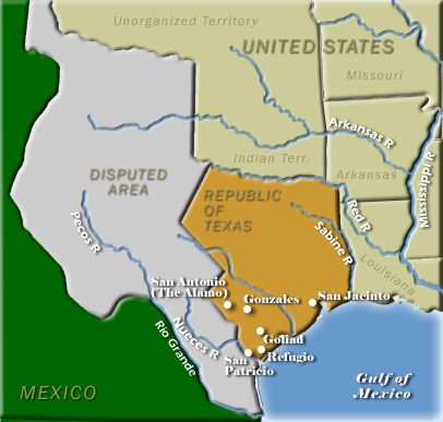 Texas Independence Map - Map of us land originally held by mexico
