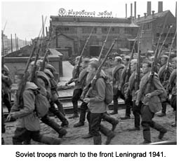 Soviet troops marching to Leningrad